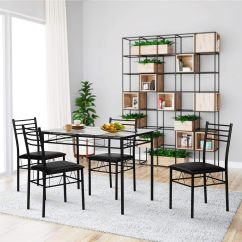 Metal Kitchen Table Sets Drawer Inserts Shop Vecelo Dining Glass With 4 Chairs Room Furniture 5 Pcs
