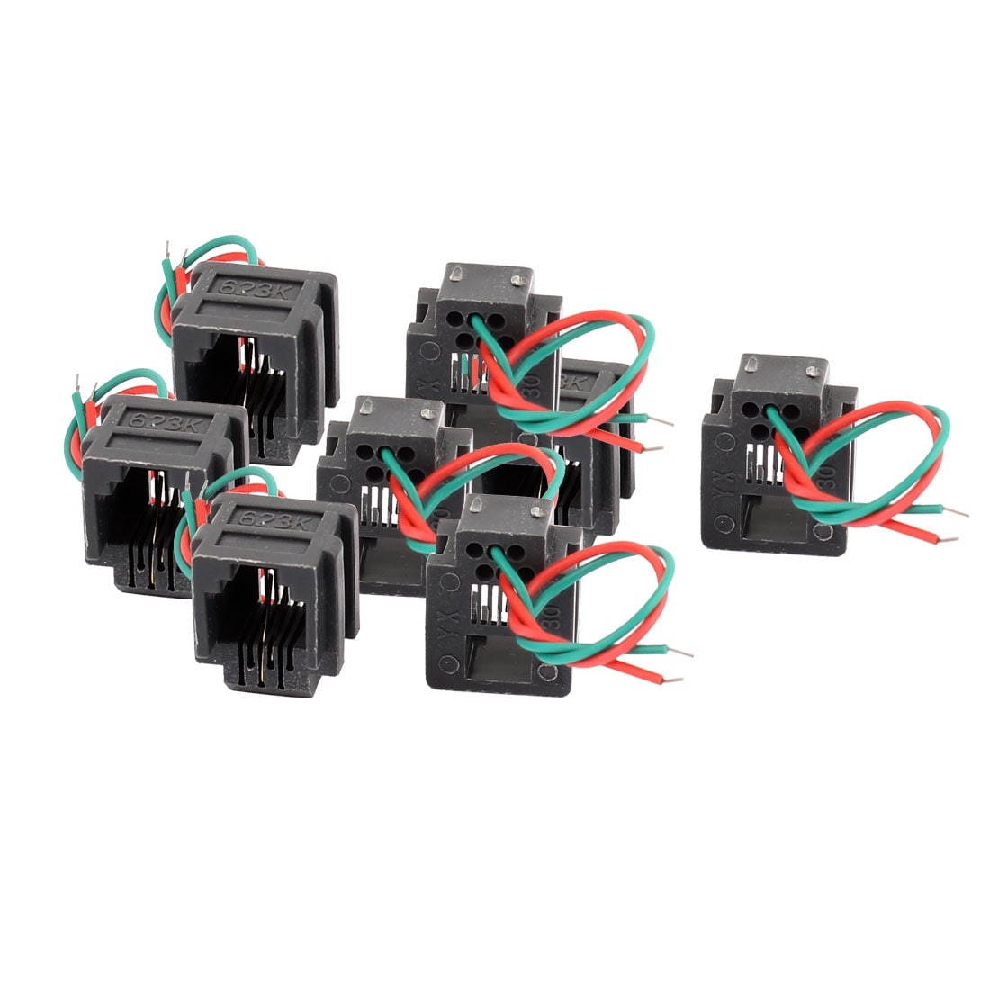 hight resolution of shop 8 pcs rj11 6p2c 6 position pcb gray network modular female connector w 2 wires free shipping on orders over 45 overstock 18355860