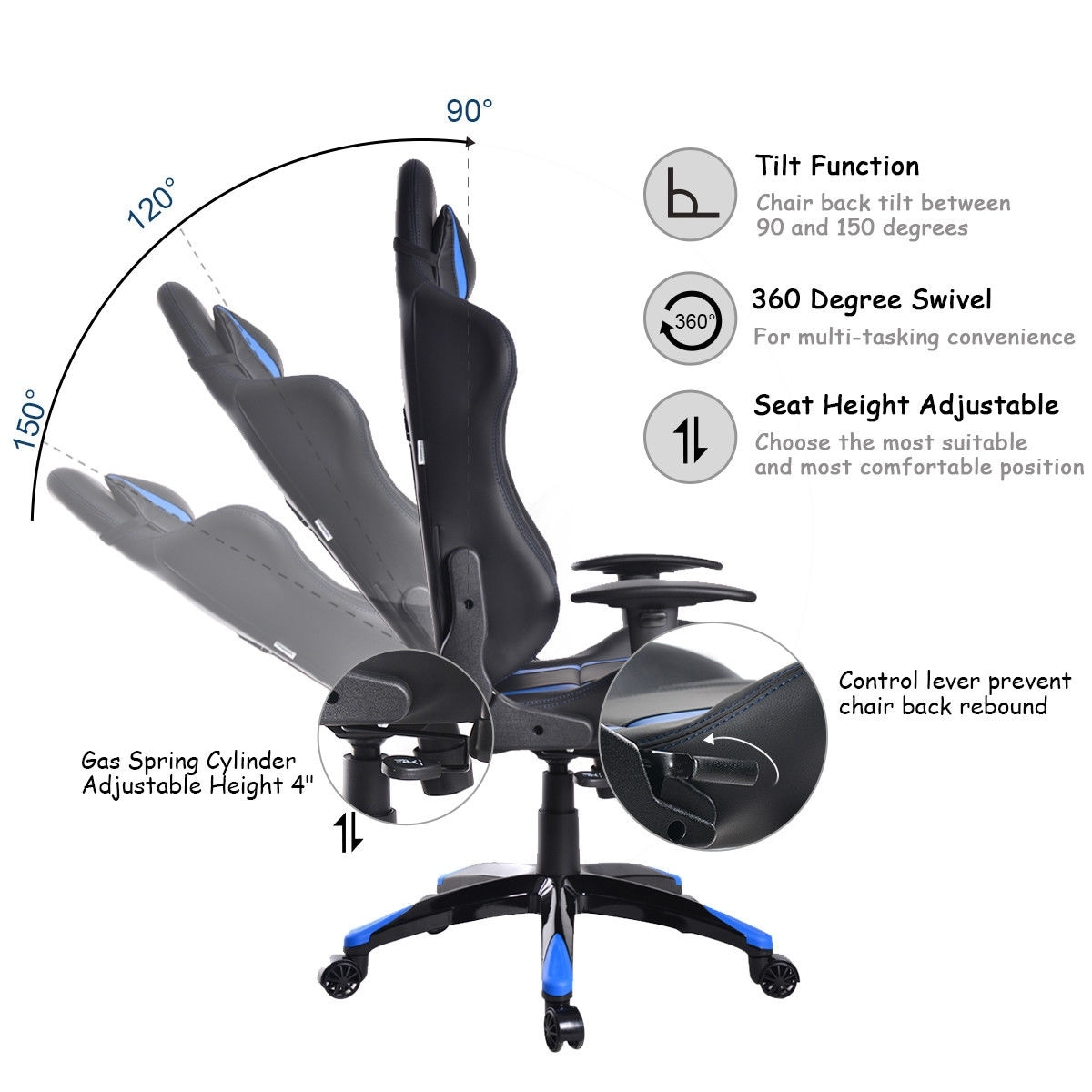 Office Chair Posture Costway Racing High Back Reclining Gaming Chair Ergonomic Computer Desk Office Chair Blue