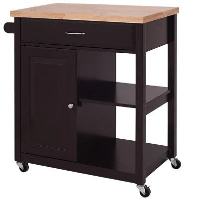 kitchen trolley refacing cabinets shop costway wood rolling cart storage cabinet utility as pic