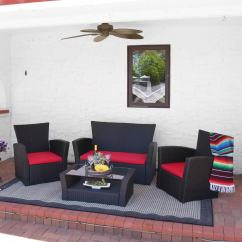 Outdoor Sofas Brisbane Leather Sofa Cleaners Nottingham Shop Sunnydaze 4 Piece Rattan Patio Furniture Set Red Cushions
