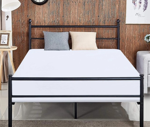 Vecelo Kids Beds Twin Full Queen Size Metal Platform Bed Frames With Headboard Footboard