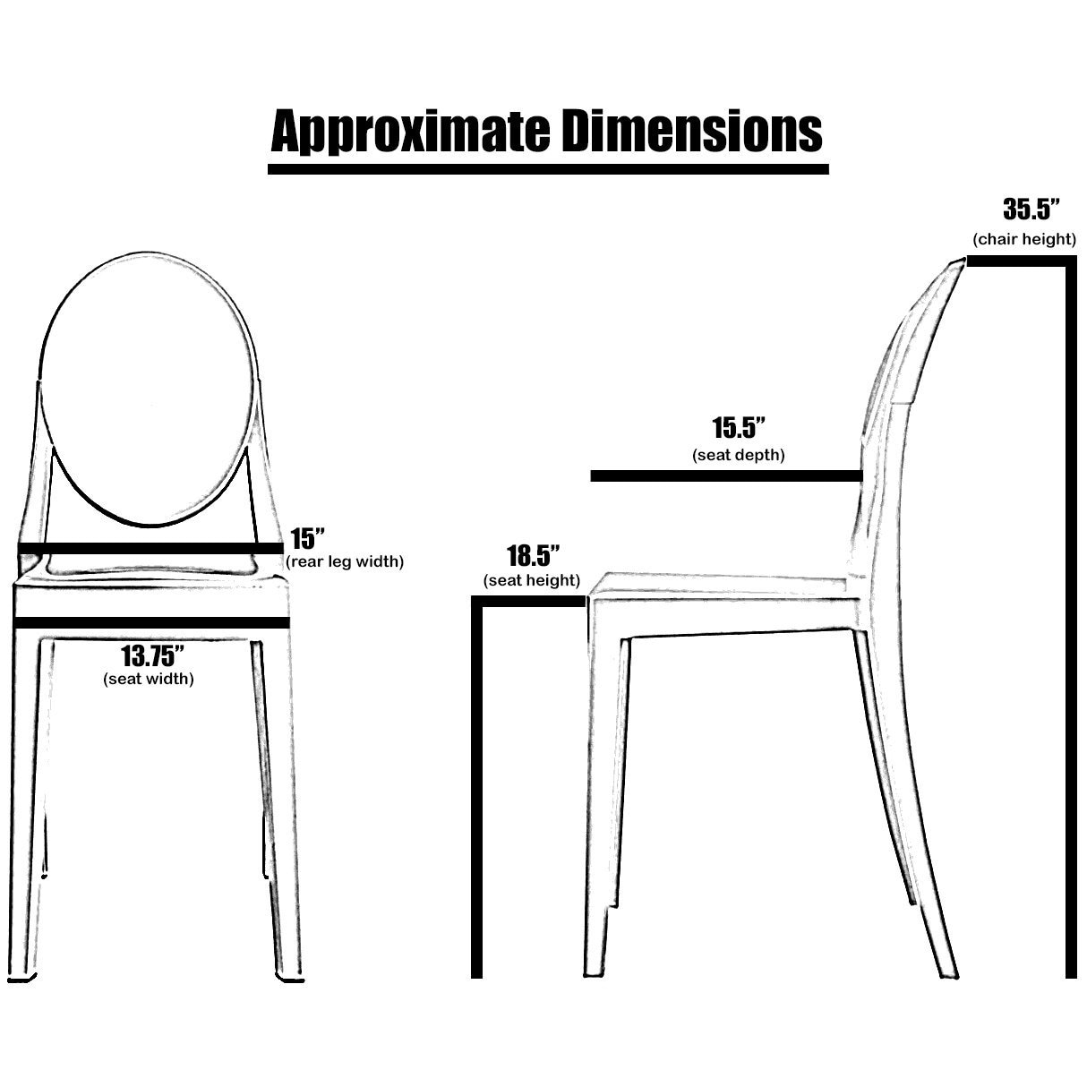 Dining Chair Dimensions 2xhome Set Of 4 Standard Size White Plastic Dining Chairs Modern