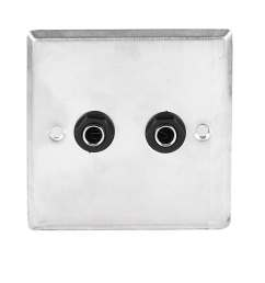 shop unique bargains speaker dual black solder 6 35mm 1 4 socket metal wall plate panel 85x85mm on sale free shipping on orders over 45 overstock  [ 1100 x 1100 Pixel ]