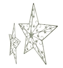 shop 2 piece white rustic cosmic scrolls decorative hanging metal barn star set free shipping today overstock 16751015 [ 974 x 974 Pixel ]