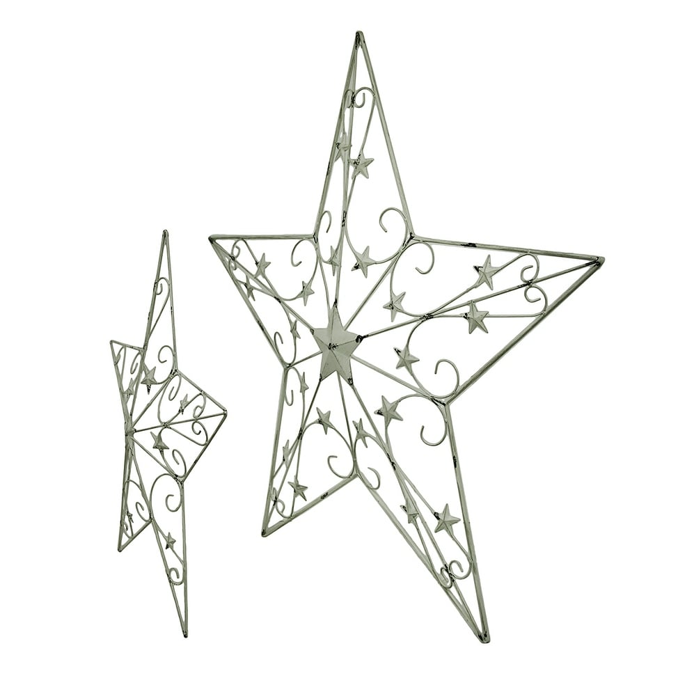 hight resolution of shop 2 piece white rustic cosmic scrolls decorative hanging metal barn star set free shipping today overstock 16751015