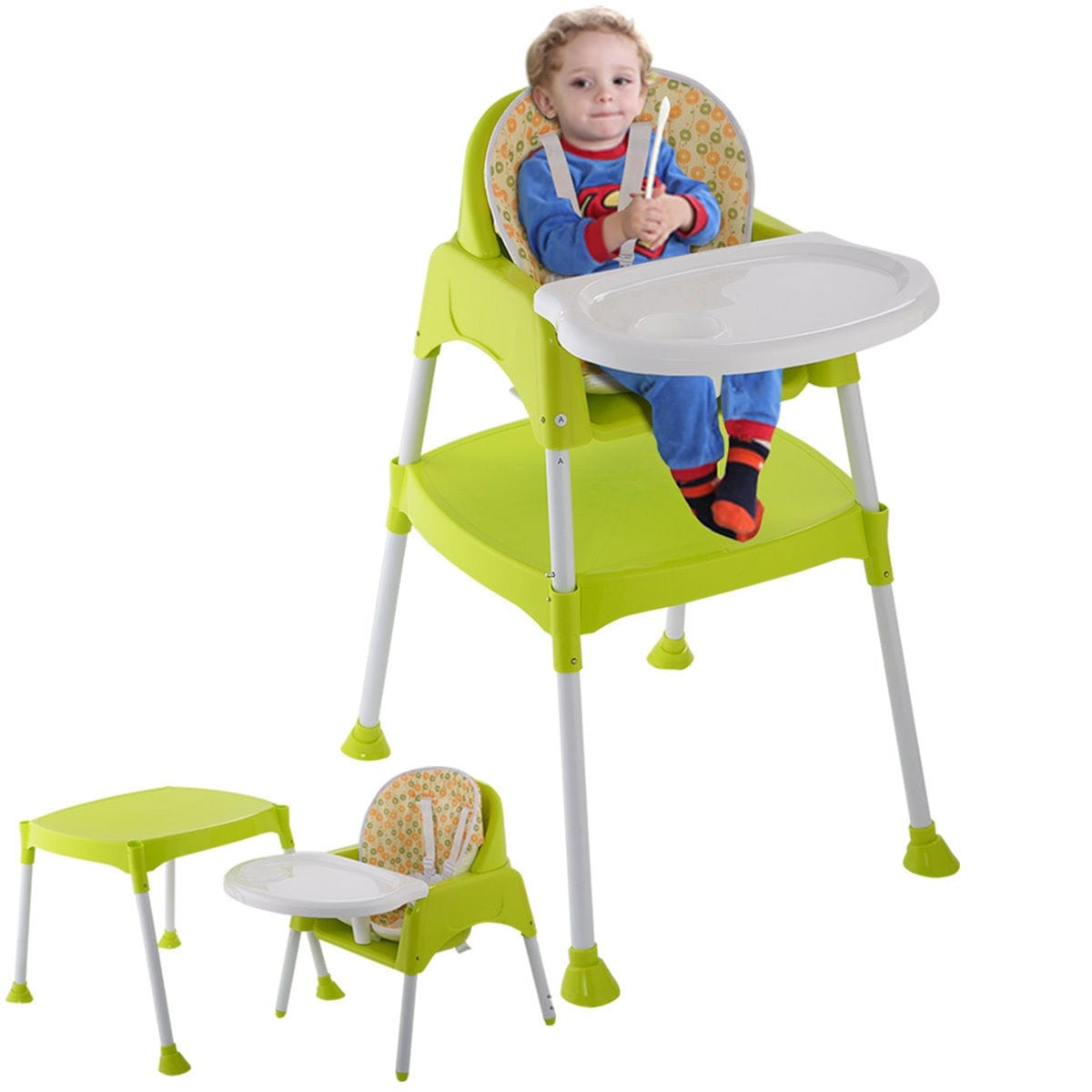booster high chairs chair cover hire tamworth shop costway green 3 in 1 baby convertible table seat toddler feeding highchair