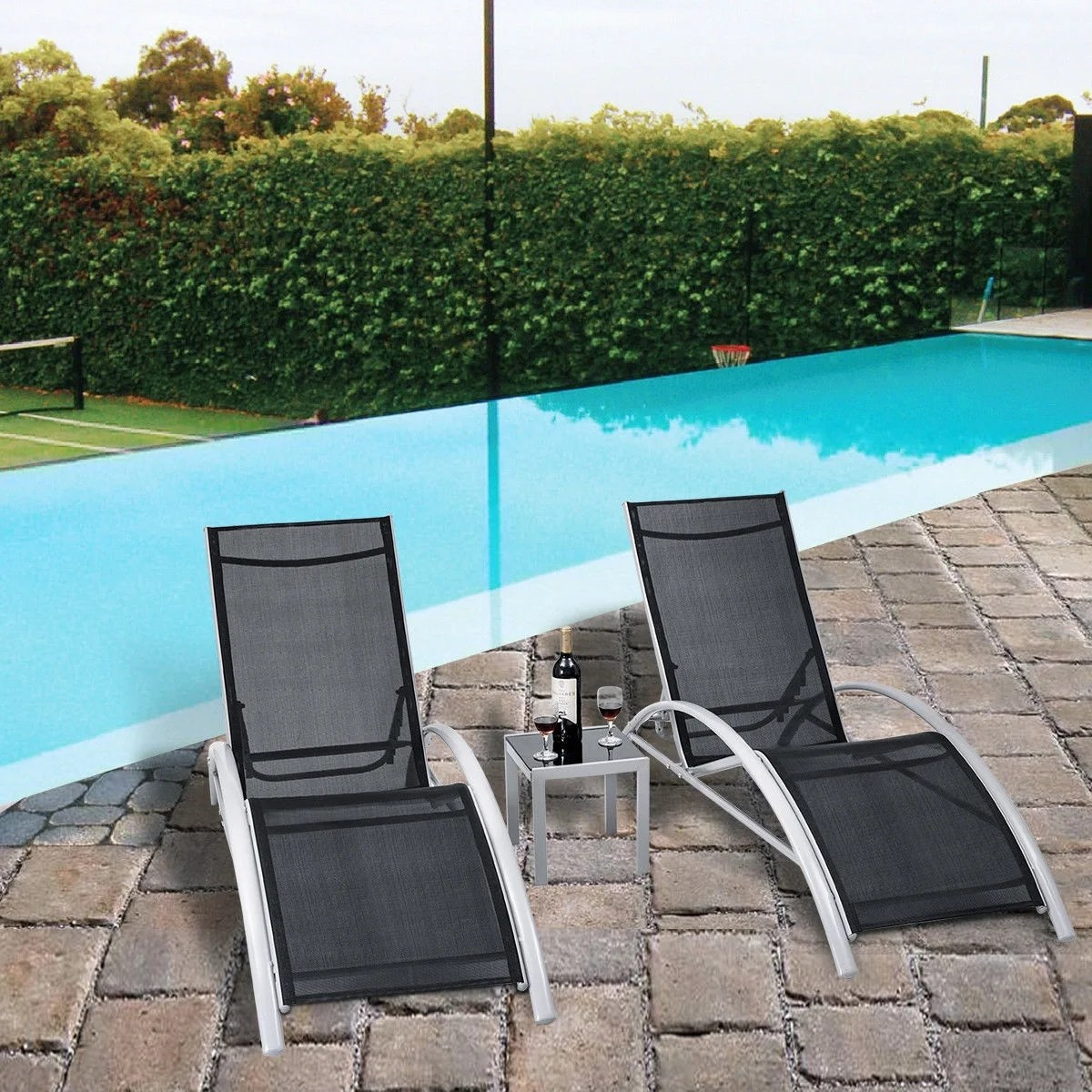 Chairs For Pool 3 Pcs Outdoor Patio Pool Lounger Set Reclining Garden Chairs Glass Table