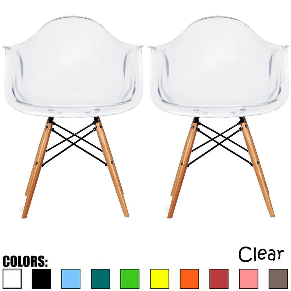 modern plastic chair dining chairs clearance shop 2xhome set of 2 clear armchair with natural wood legs accent
