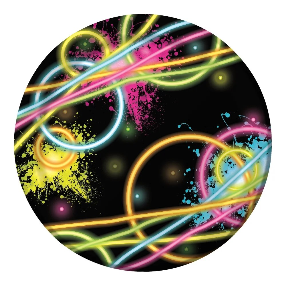 hight resolution of shop club pack of 96 neon galaxy glow party disposable luncheon party plates 7 n a free shipping today overstock 16657386