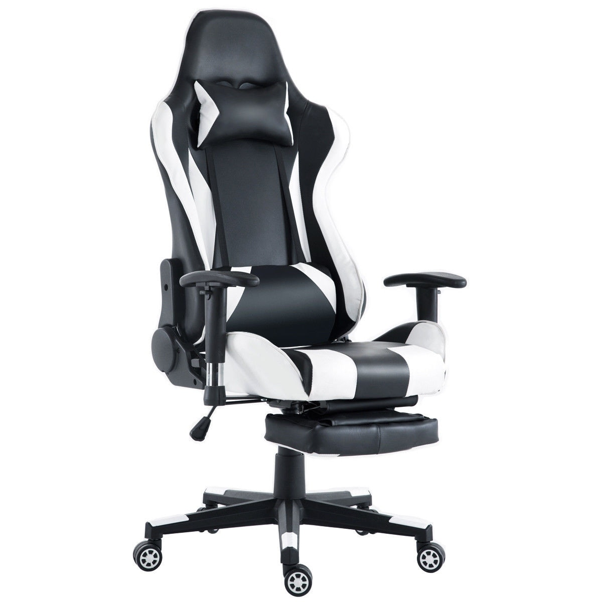 reclining gaming chair cover rentals vaughan shop costway high back racing recliner office w lumbar support footrest