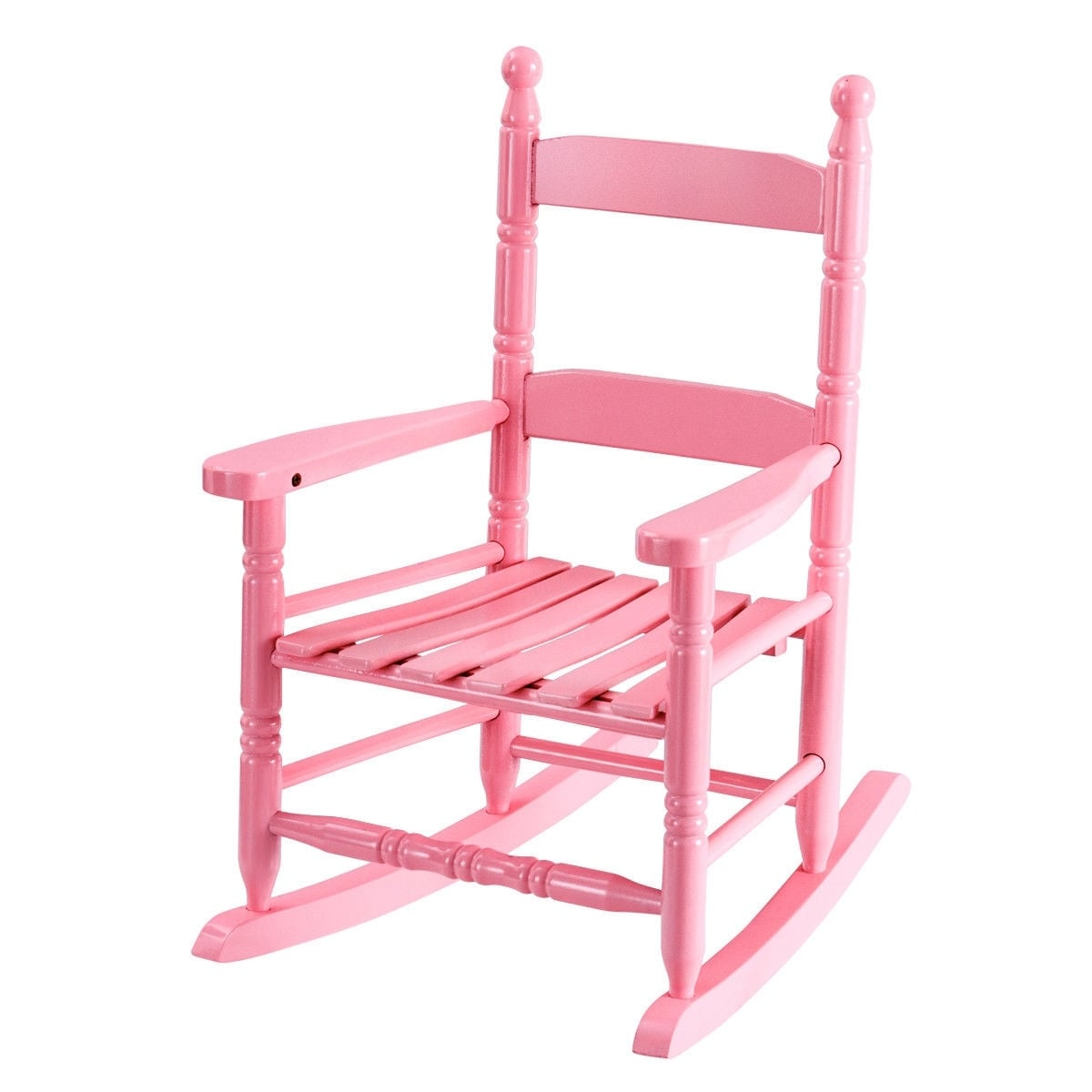 Child Wooden Rocking Chair Classic Wooden Children Kids Rocking Chair Slat Back Furniture Bedroom Pink