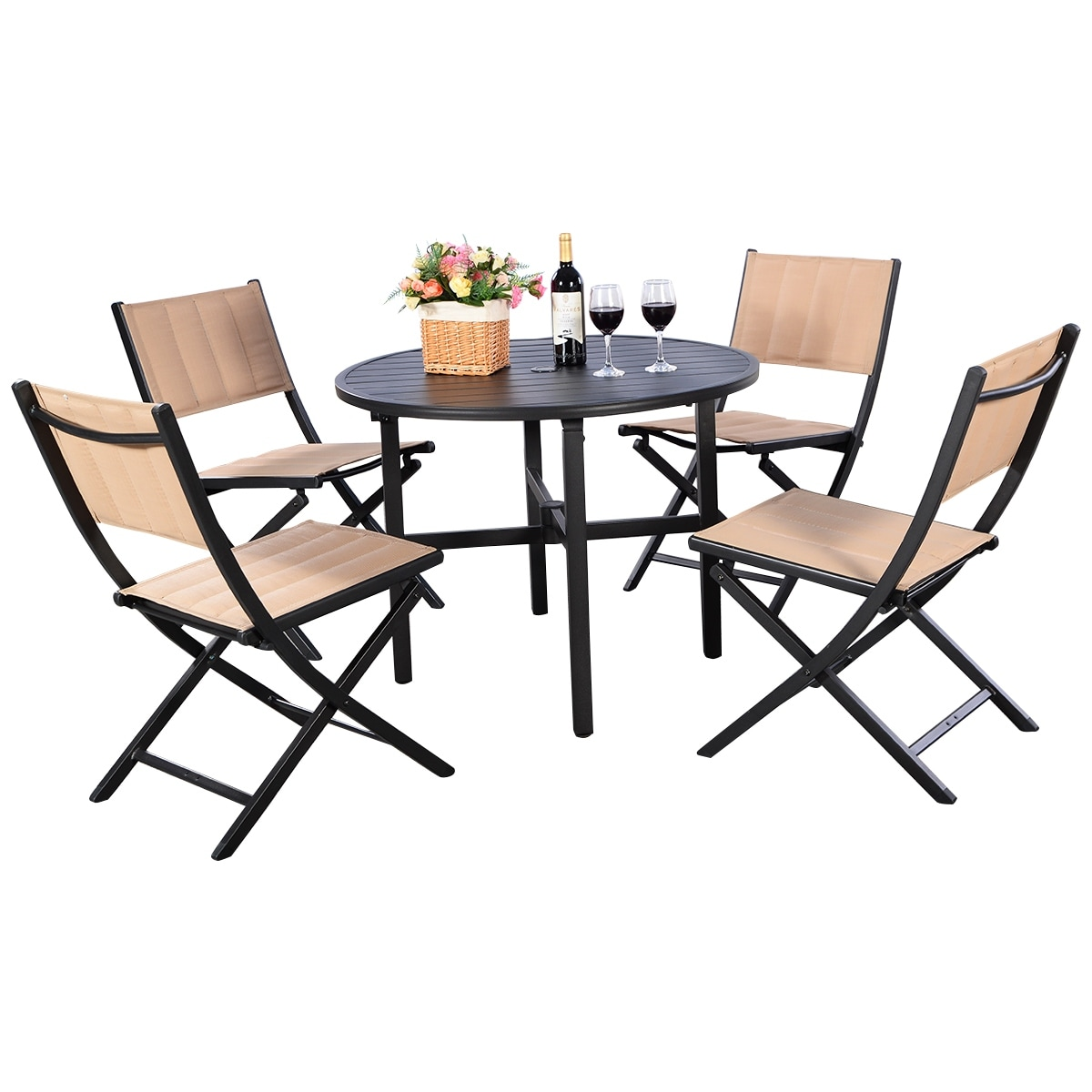Patio Folding Chairs Costway 5 Pcs Patio Outdoor Folding Chairs Table Furniture Set Backyard Bistro