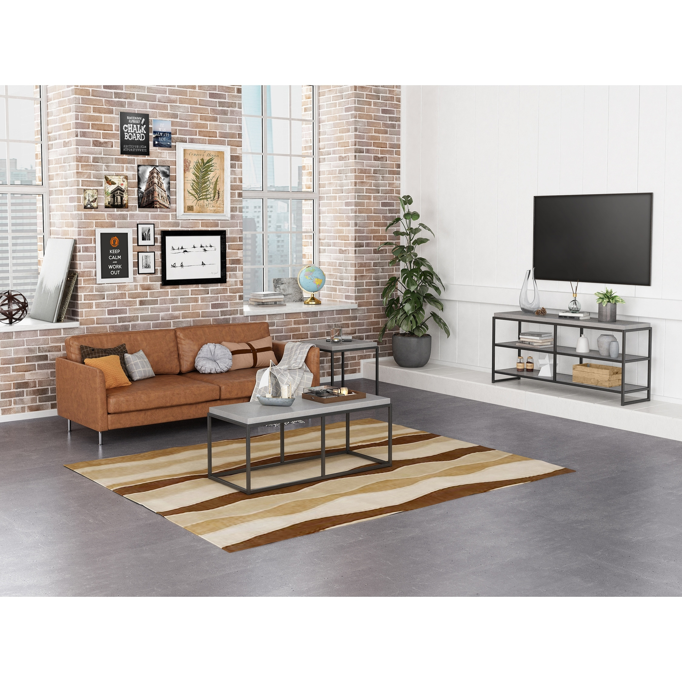 Tv Board Industrial Industrial Cement Look Three Tier Tv Stand - Overstock - 31691507
