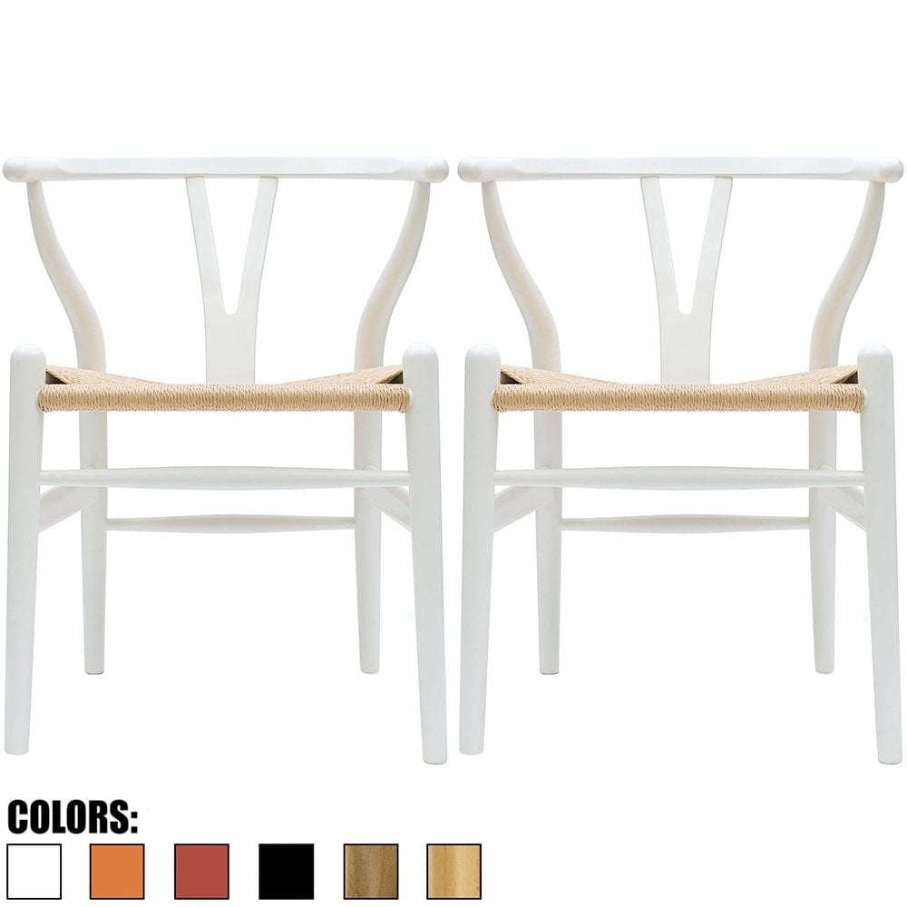 White Wooden Dining Chairs 2xhome Set Of 2 White Modern Wood Dining Chair With Y Back Arm Armchair Hemp Seat For Home Restaurant Office