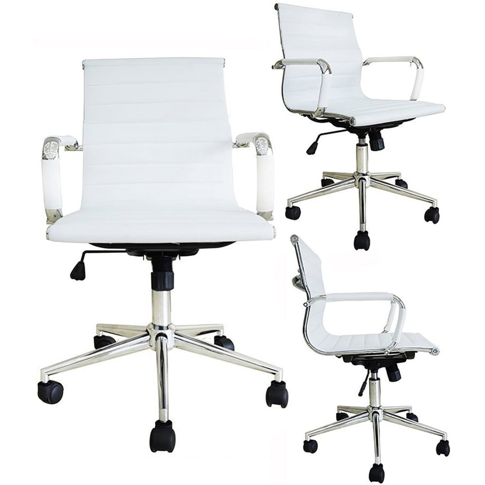 office chairs with wheels plastic outdoor shop mid century chair ergonomic executive pu leather arm rest tilt adjustable height swivel task computer white