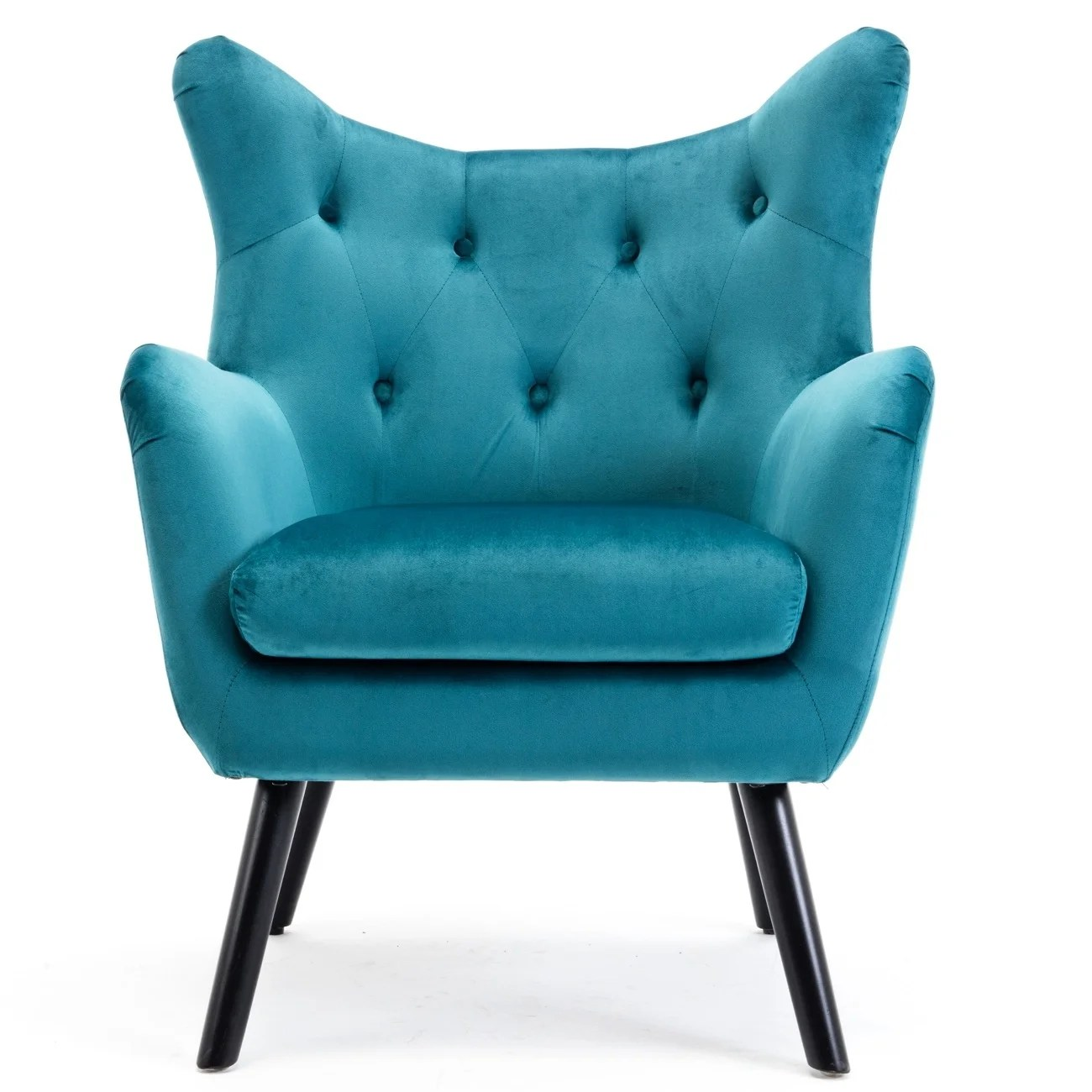 Teal Wingback Chair Belleze Accent Wing Back Chair Button Tufted Living Room Seat With Wood Leg Teal