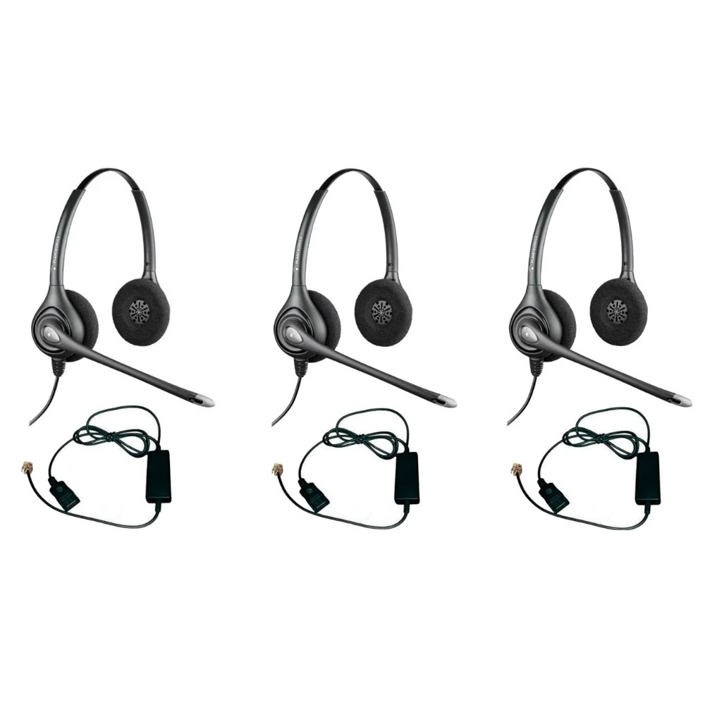 hight resolution of shop plantronics supra plus hw261n with a10 adapter 3pack dual earpiece wideband headset ships to canada overstock 20750550