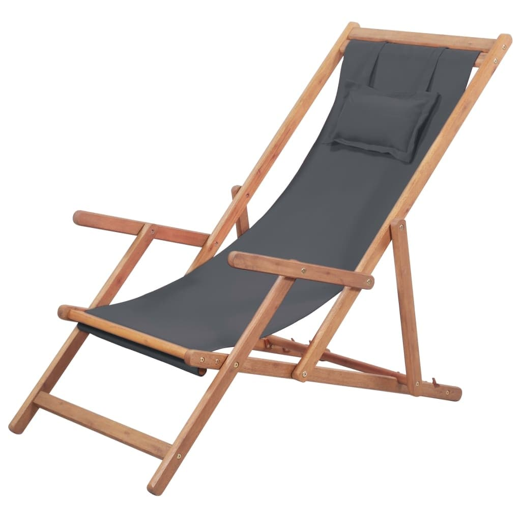 Folding Wood Beach Chair Vidaxl Folding Beach Chair Fabric And Wooden Frame Gray Outdoor Seat Lounge