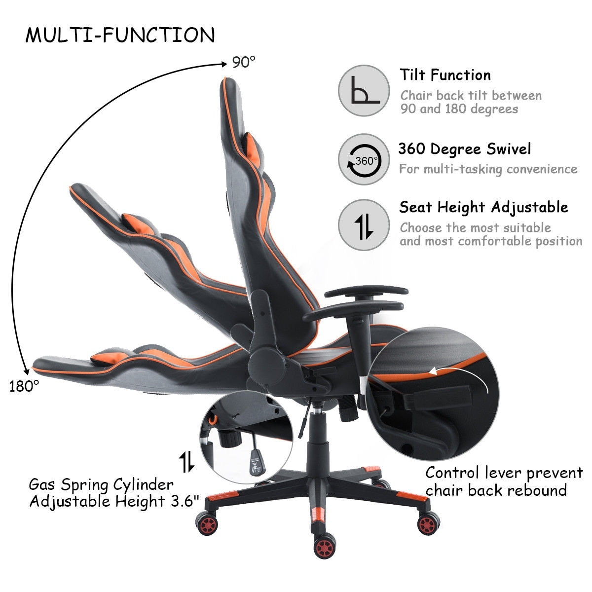 office chair lumbar support small bathroom chairs shop costway gaming high back racing recliner w footrest orange and black free shipping today overstock com