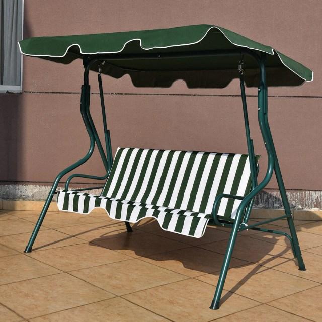 shop costway 3 seats patio canopy swing glider hammock cushioned