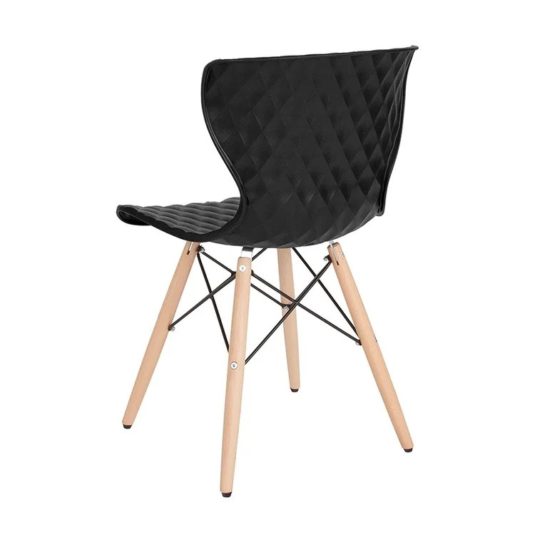 black plastic chair with wooden legs swivel on carpet shop offex contemporary design accent side