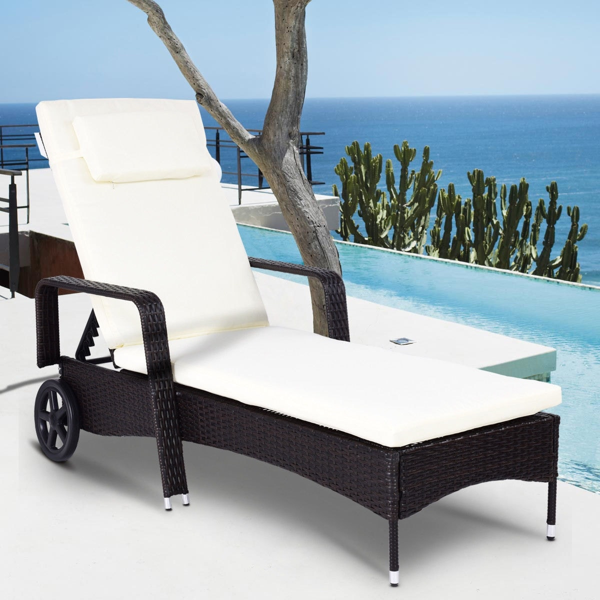 outdoor chaise lounge chairs with wheels lime green high chair shop costway recliner cushioned patio furniture adjustable brown