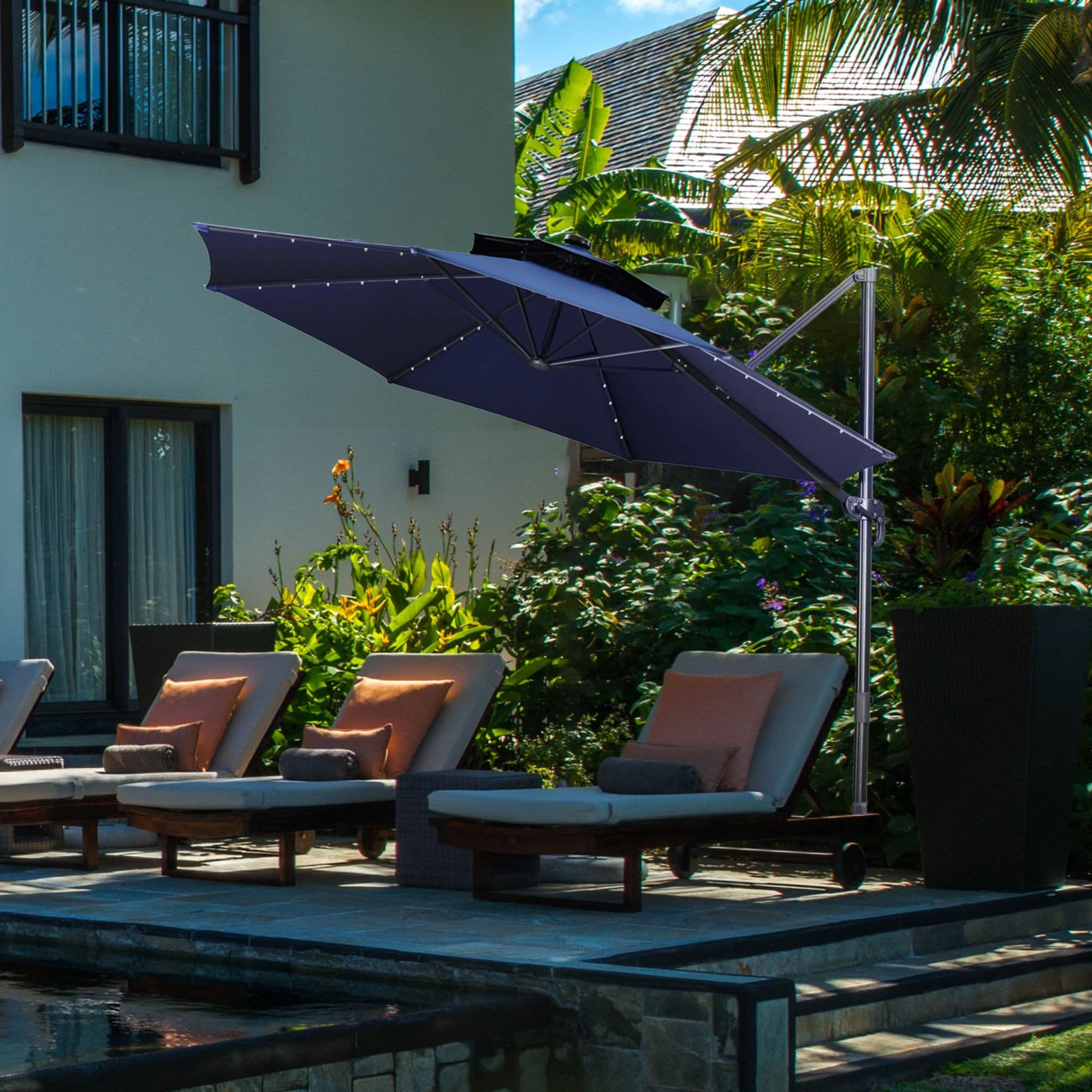10ft double top windproof patio cantilever umbrella with solar light