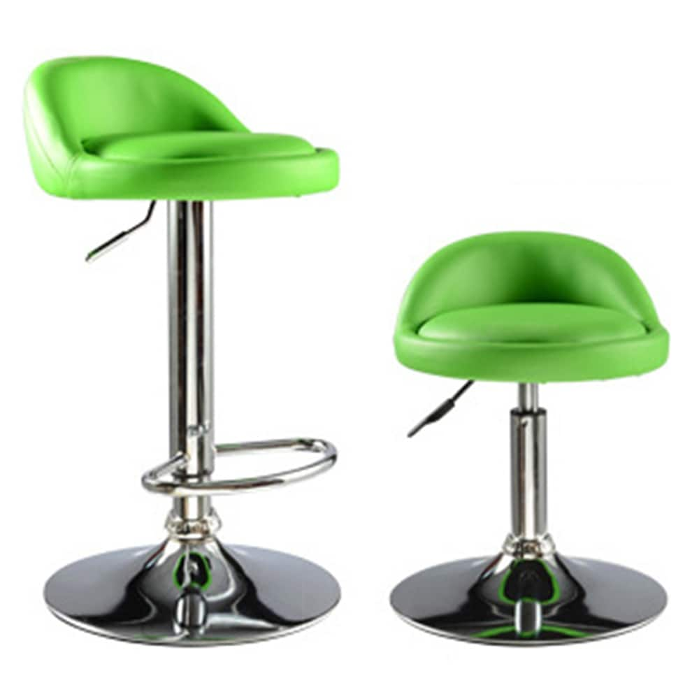 Chair Rack Liftable Stainless Bar Counter Bar Chair European Revolving Metal Rack Stool Green Color