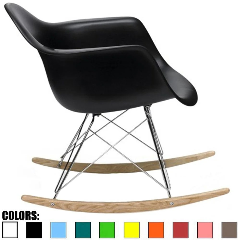 plastic lounge chair mid century style chairs shop 2xhome black modern rocker rocking nursery with arm wood wire leg free shipping today overstock com 18591565