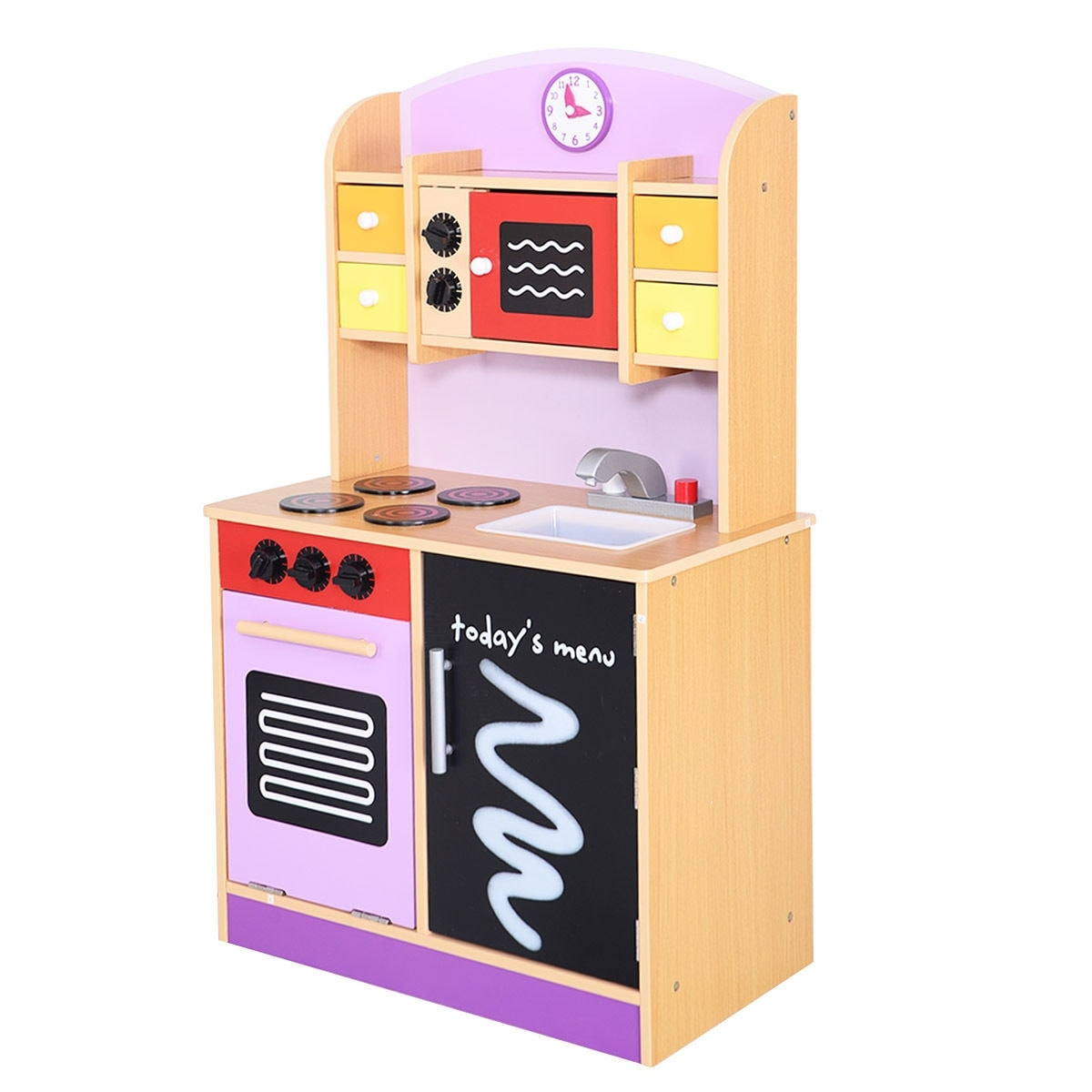 wood kitchen playsets yellow gloves shop generic toy kids cooking pretend play set toddler wooden playset pink free shipping today overstock com 16004193