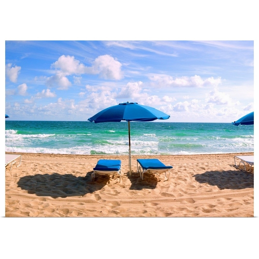 Beach Chairs With Umbrella Lounge Chairs And Beach Umbrella On The Beach Fort Lauderdale Beach Florida Multi Color