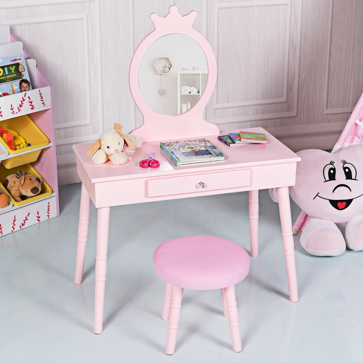 Shop Gymax Kids Vanity Makeup Table Chair Set Make Up Stool Play Set For On Sale Overstock 29793028
