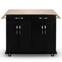 Portable Kitchen Cart Cabinets Painted Shop Belleze Black Finish Wood Top Island