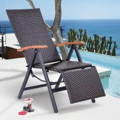 Patio Folding Chair Christmas Covers Argos Shop Costway Lounger Recliner Rattan Aluminum Garden Brown
