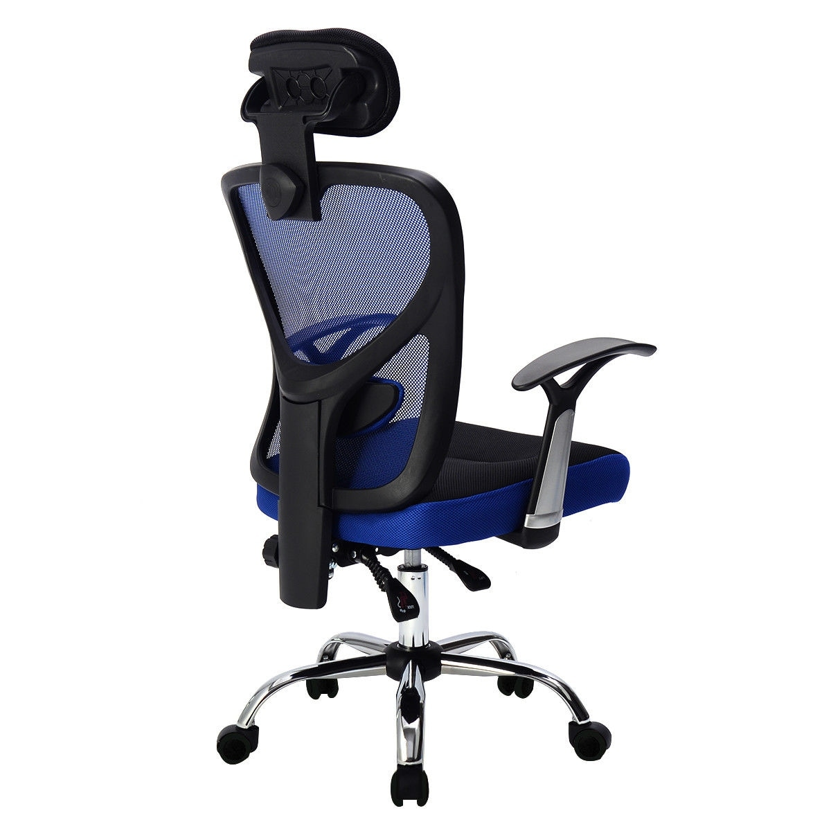 office chair with headrest gaming costco shop costway ergonomic mesh high back blue free shipping today overstock com 17950534