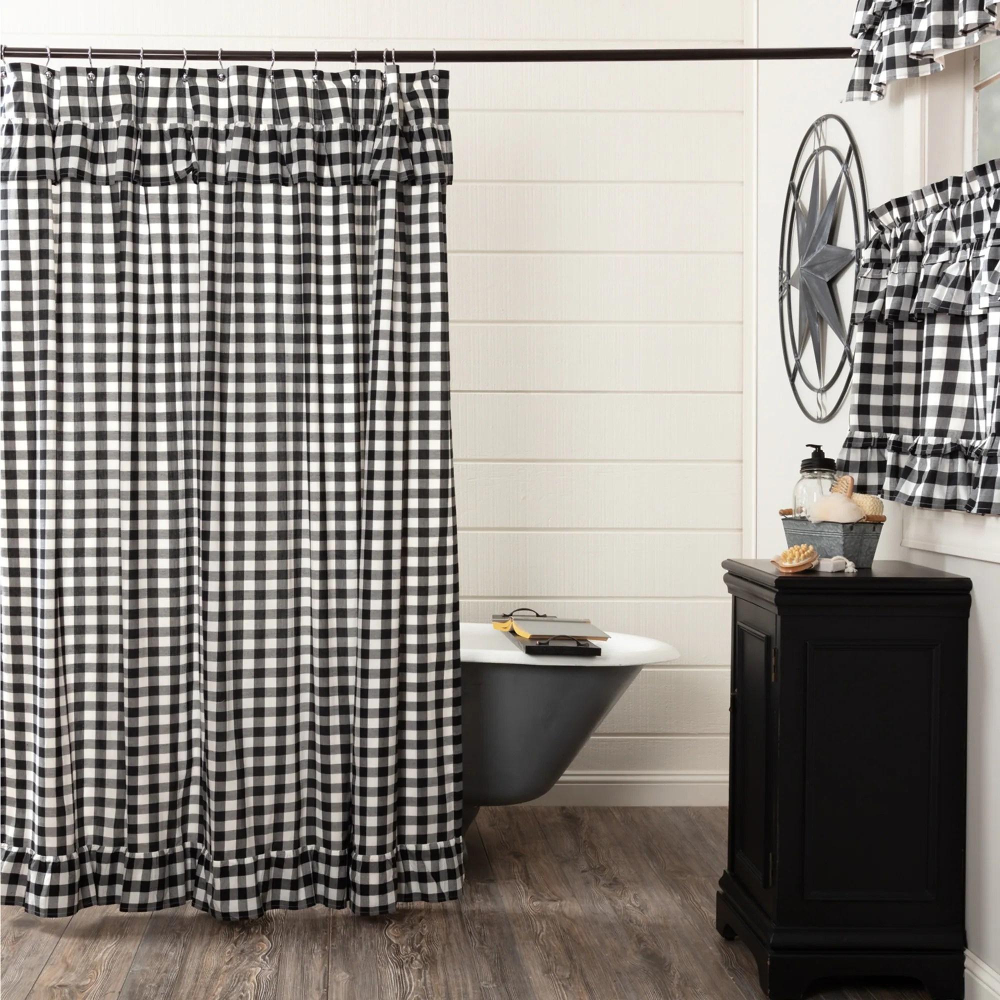 annie buffalo check ruffled shower curtain