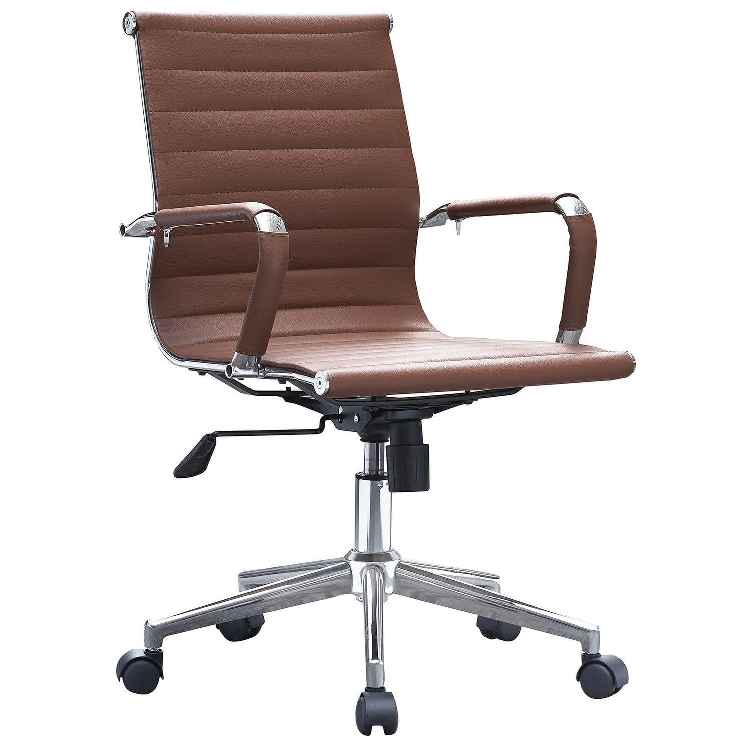 Work Chair 2xhome Brown Mid Back Pu Leather Executive Office Chair Ribbed Tilt Conference Room Boss Home Work Desk Task Guest With Arms