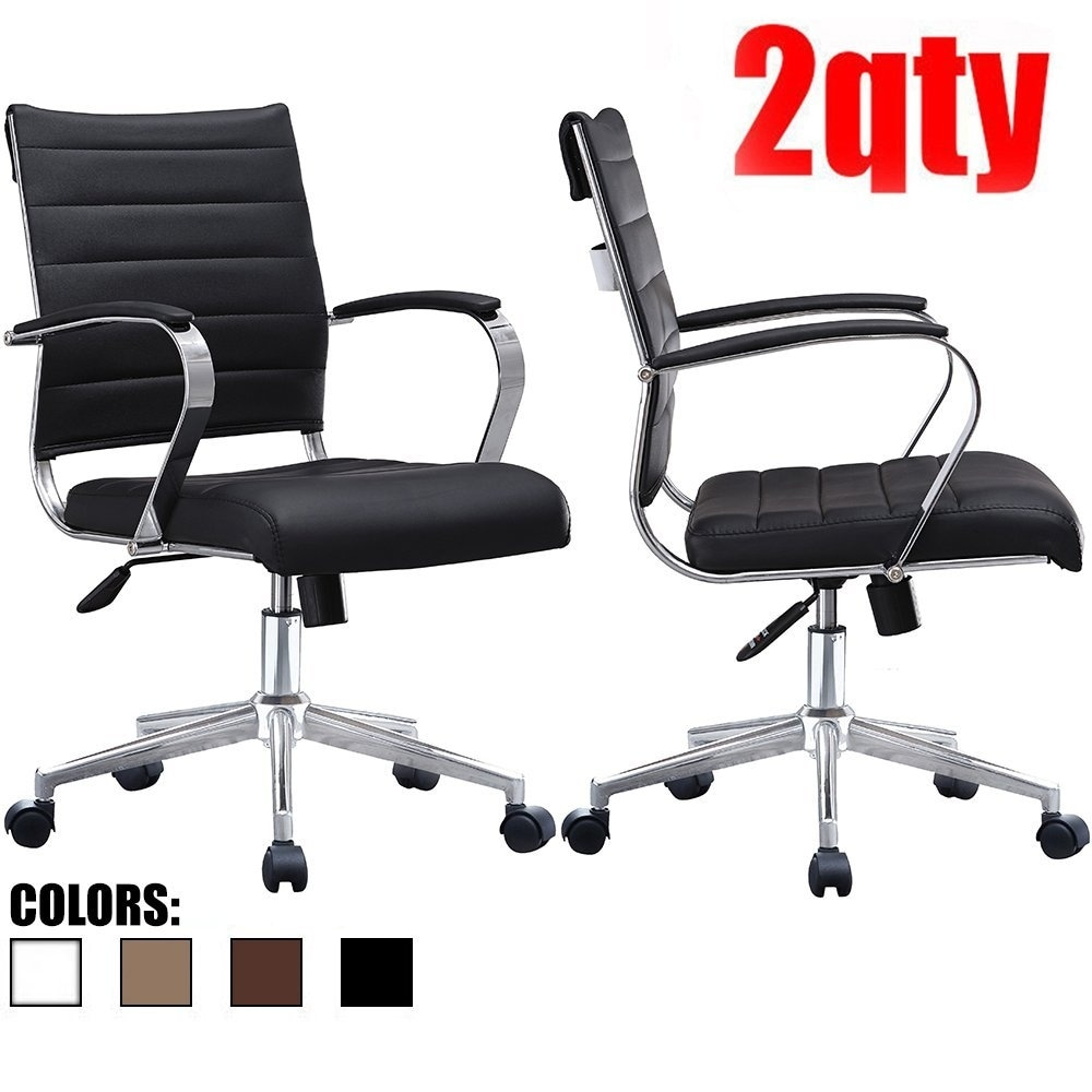 How To Adjust Office Chair 2xhome Set Of Two 2 Modern Mid Back Ribbed Pu Leather Swivel Tilt Adjust Cushion Chair Task Executive Manager Office