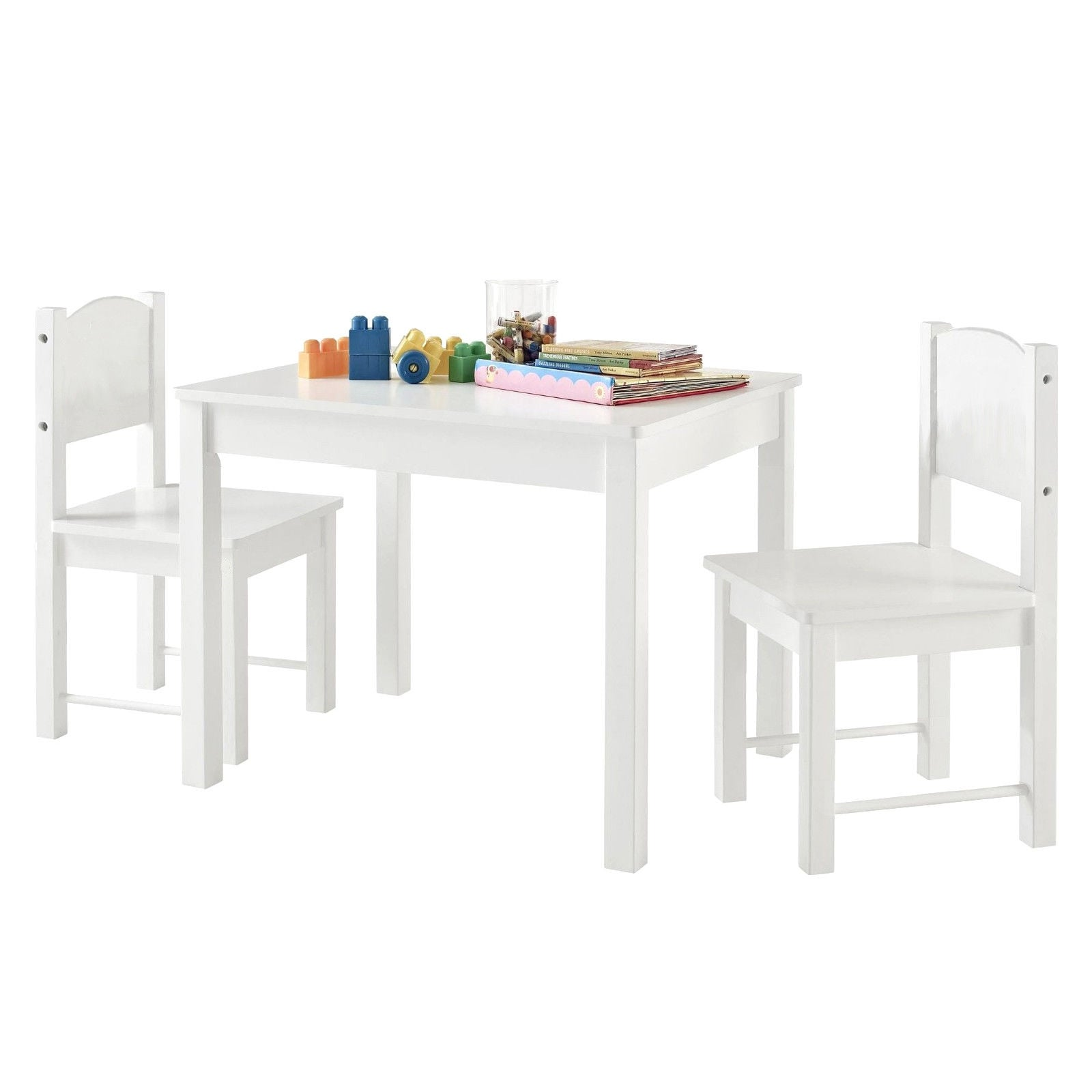 Infant Table And Chairs Wooden Kids Table Sturdy And Entertainment Table Set With 2 Chairs White