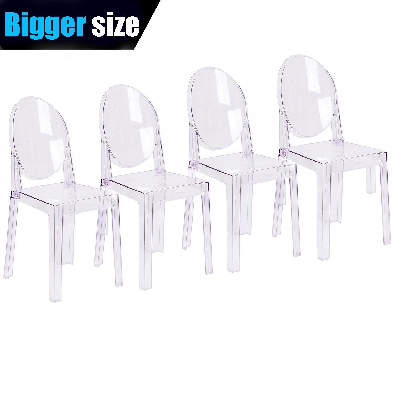 Plastic Clear Chair 2xhome Set Of 4 Larger Clear Plastic Dining Chairs Designer Side Armless Retro Set For Living Room Kitchen Transparent Crystal