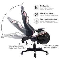 Racing Desk Chair Best Portable High Shop Costway Executive Gaming Office Back W Lumbar Support Headrest Black Pink Free Shipping Today Overstock Com