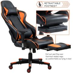 Comfortable Office Chairs For Gaming Kane Chair Design Shop Costway High Back Racing Recliner W Lumbar Support Footrest Orange And Black Free Shipping Today Overstock Com