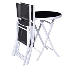 Bistro Tables And Chairs Swivel Chair With Tablet Arm Shop Costway 3 Pcs Folding Table Set Garden Backyard Patio Furniture Black Free Shipping Today Overstock Com 18297996