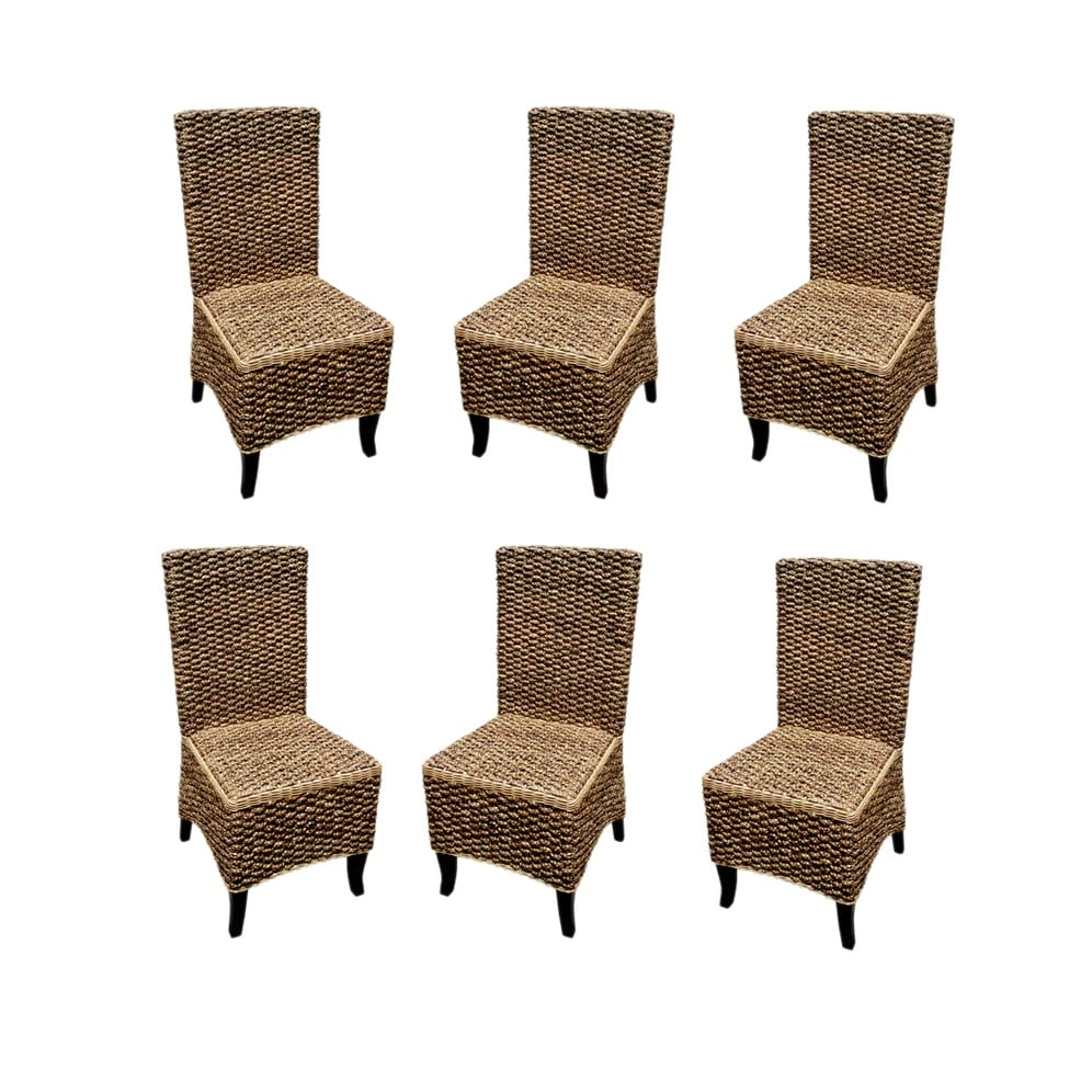 Seagrass Dining Chair Offex Handmade Seagrass Dining Chair With Solid Mahogany Wood Frame Set Of 6 Pcs