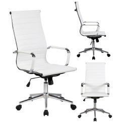 Modern White Desk Chair Kozi Revolving Shop 2xhome Executive Ergonomic High Back Office Ribbed Pu Leather Swivel For Manager Conference Computer
