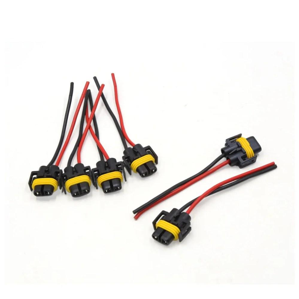 medium resolution of 6pcs plastic car h11 light lamp bulb extension wiring harness socket connector