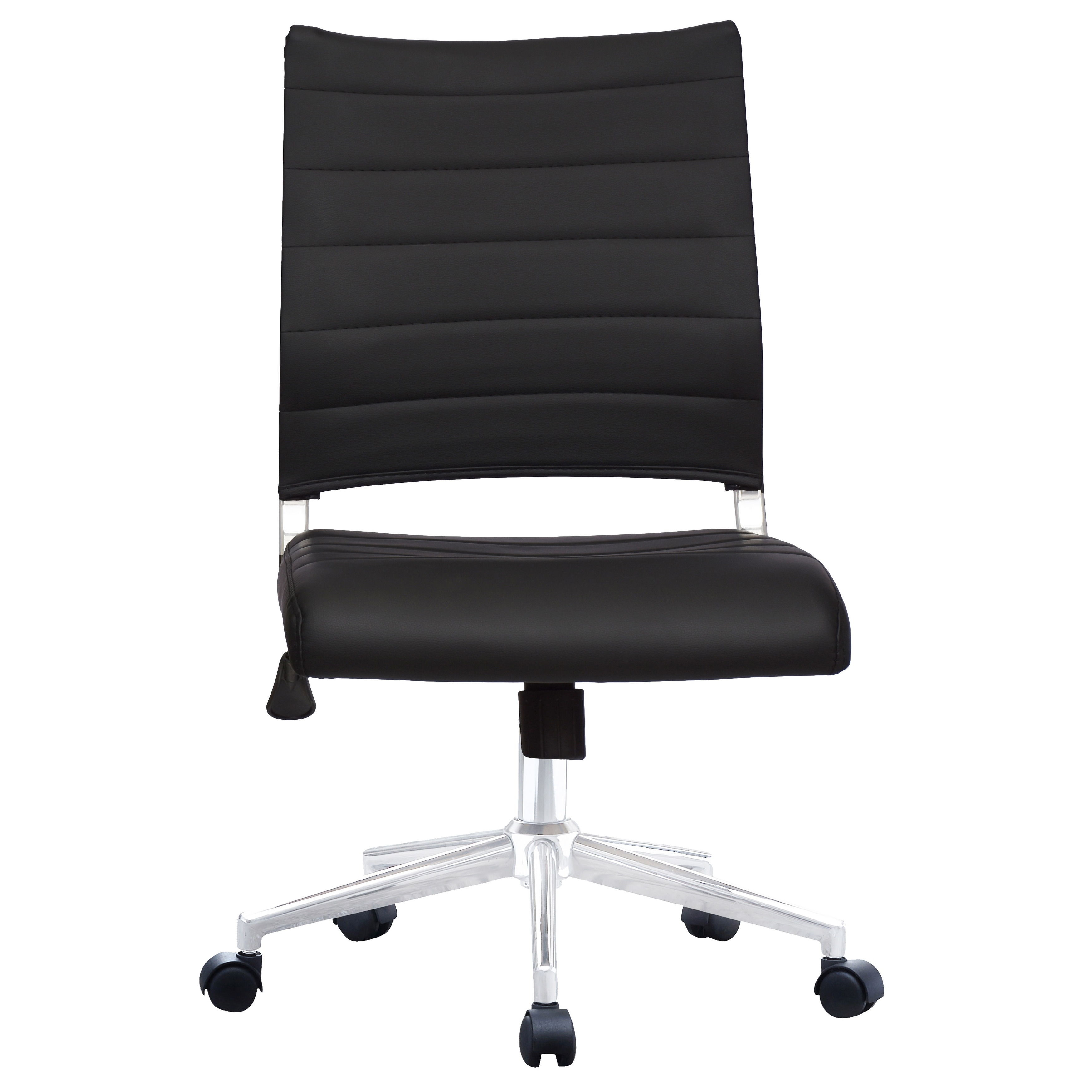 ergonomic chair without arms homedics elounger massage shop 2xhome executive mid back pu leather office armless side no tilt with wheels padded seat cushion