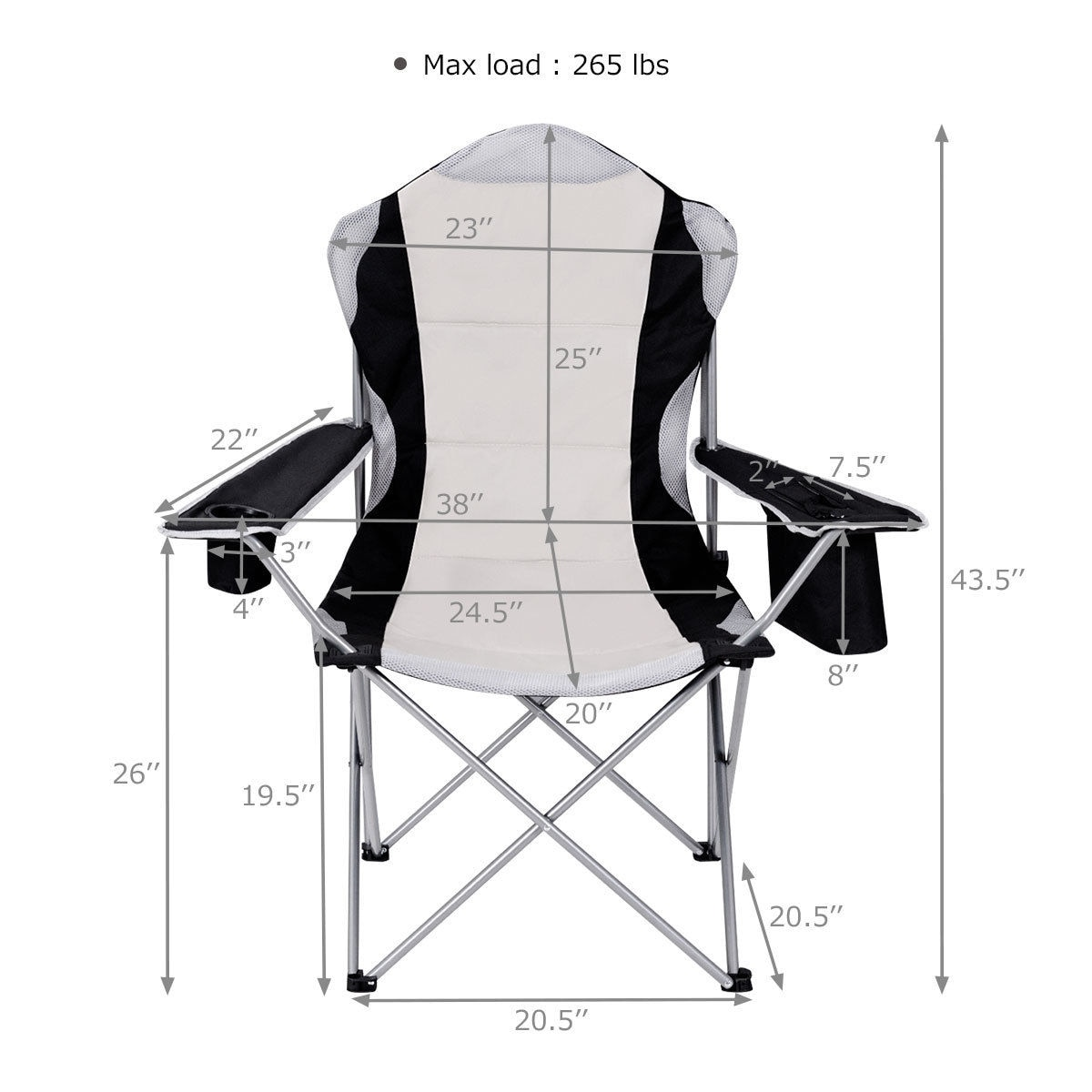 fishing chair rain cover modern leather dining chairs uk shop costway camping seat cup holder beach picnic outdoor portable folding bag grey free shipping today overstock com 16733416