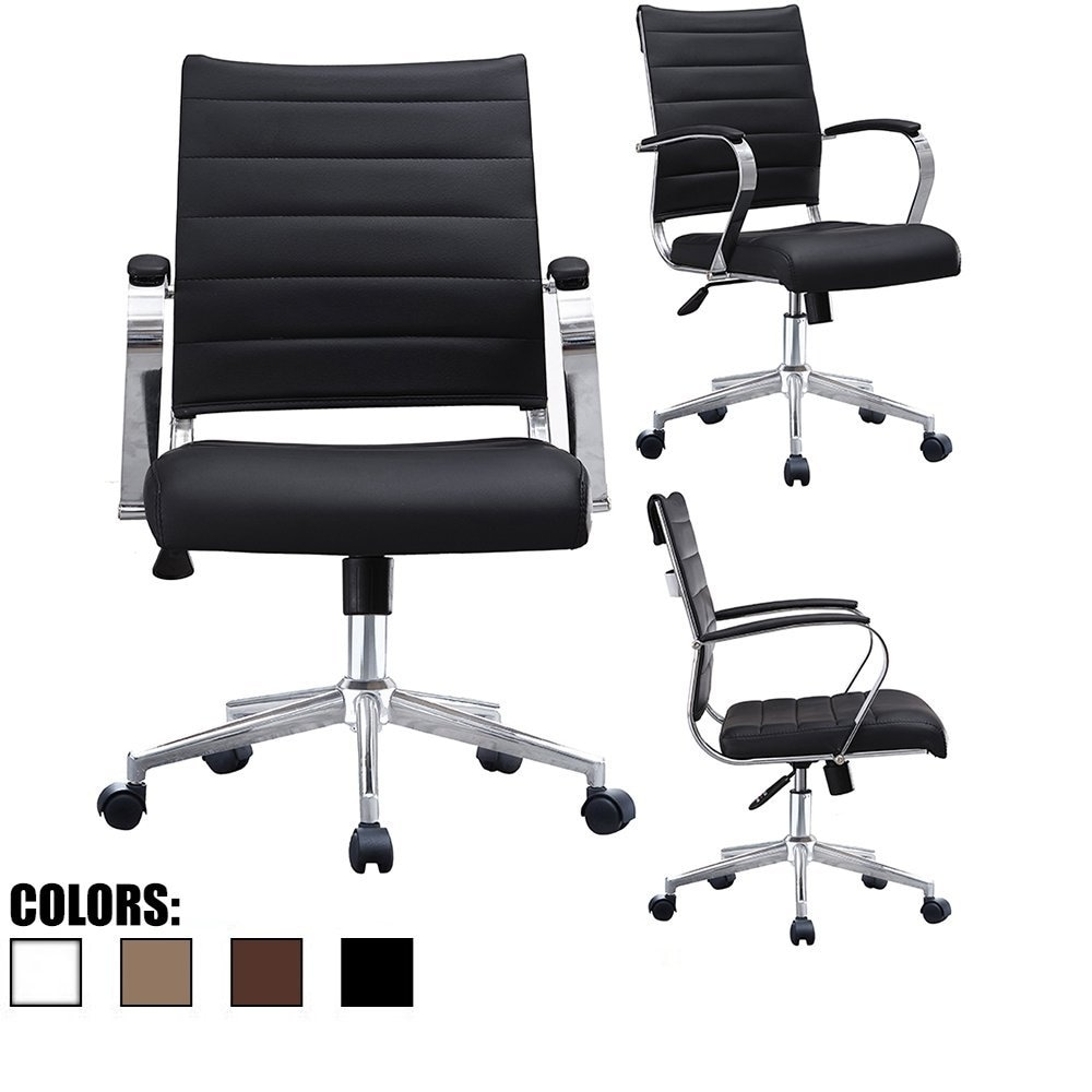 Task Chairs With Arms 2xhome Black Office Chairs Mid Back Ribbed Pu Leather Executive Task Work Conference With Arms Wheels Tilt Swivel Rolling
